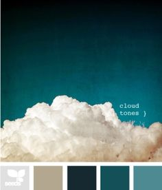 Cloud Tones - starting to really like this color palette. Also - the dark teal is one of the color trend colors! Pantone, Design Seeds, Colour Schemes, Color Combos, Colour Palettes, Peacock Color Scheme, Three Color Combinations, Paint Palettes, Peacock Blue