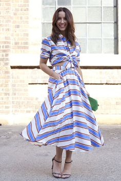 Pin for Later: 43 Chic Summer Outfits That Are Perfect For 30-Somethings A twirly two-piece in bold stripes