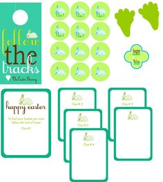 Embellish: {free printables} Easter Basket Scavenger Hunt - includes clue cards and bunny tracks