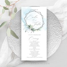 Blue Wedding Program Template, Printable Order of Service, 100% Editable Text, Flat Program, Diy, INSTANT DOWNLOAD, KIRA Blue by DIYPaperPrints on Etsy