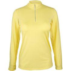 Bette & Court Women's Cool Elements Mesh Long Sleeve Golf Polo, Size: Medium, Lemonade