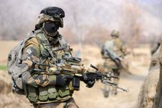 A French soldier in the valley of Kapisa, Afghanistan