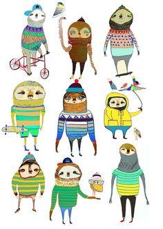 Sloths Art Print Kids Decor Illustration Print by AshleyPercival