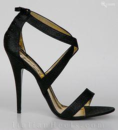 ItalianHeels.com: sandals: Porzia 1693 - 4 1/2' stiletto BlackGlitter Sandals