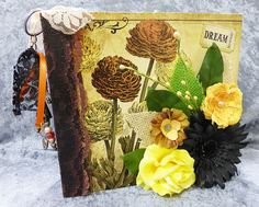 Hand made paper bags interactive scrapbook photos mini album w/embellishment  #Handmade
