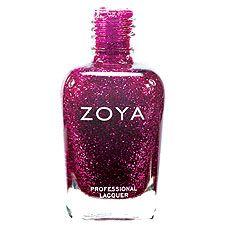 Zoya Nail Polish in Nova - Medium royal fuchsia-purple tinted translucent base packed with dark and light pink glitter