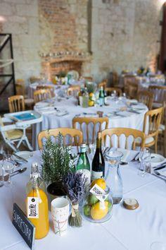 Stylish Elegant Isle of Wight Winter Wedding with a Yolan Cris Dress Lemon Centerpiece Wedding, Herb Centerpieces, Wine Bottle Centerpieces, Wine Bottles, Pub Wedding, Wedding Tables, Garden Wedding, Wedding Stuff, Wedding Venues