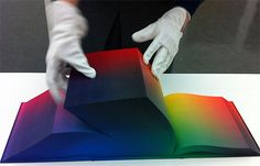 Tauba Auerbach presents the RGB color scheme in a hard-copy reference volume of all the colours in existence. We estimate, with ink around $40 for a printer cartridge, that this would have cost around $3 million to print.