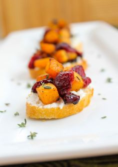 Butternut Squash, Cranberry, and Goat Cheese Crostini