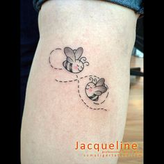 Cute Flying Bees Tattoo Design