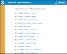 Recursos didácticos interactivos, Lengua 3º E. Primaria, Editorial Anaya