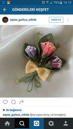 This Pin was discovered by Nur Jute Crafts, Diy And Crafts, Point Lace, Needle Lace, Crochet, Needlepoint, Knots, Weaving, Brooch