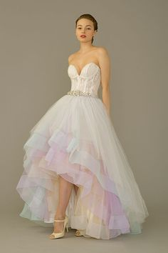 Wonderful Perfect Wedding Dress For The Bride Ideas. Ineffable Perfect Wedding Dress For The Bride Ideas. Pastel Wedding Dresses, Rainbow Wedding Dress, Colored Wedding Gowns, Wedding Dress Organza, 2015 Wedding Dresses, Perfect Wedding Dress, Wedding Attire, Bridal Gowns, Hi Low Wedding Dress
