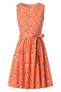 Audrina Puffin Swing Dress in Orange van Lindy Bop Orange Vans, Petticoats, Swing Dress, Summer Dresses, Tops, Fashion, Moda, Summer Sundresses, Fashion Styles