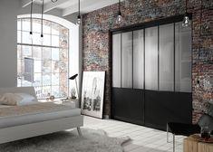 Chambre adulte : porte de placard 3 vantaux style atelier (modèle Factory Manhattan) Manhattan, Divider, Room, Furniture, Home Decor, Style, Closet Solutions, Sliding Door, Puertas