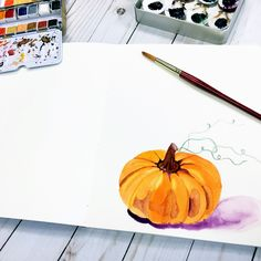 Pumpkin watercolor painting by Sherry Canino (@caninosartisticcafe) on Instagram. www.caninosartisticcafe.com
