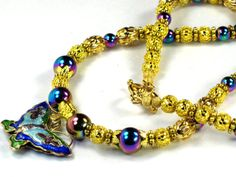 Blue Cloisonne Butterfly Necklace With Fascinating Rare Blue Titanium Beads by Chris of FantasyDesign, $87.00
