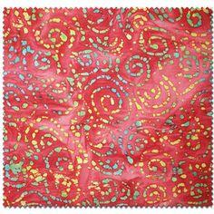 Batik Swirls Fabric by the Yard, Red pillow