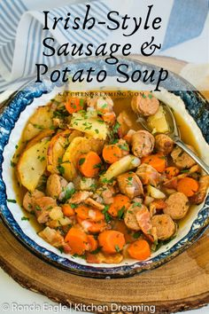 Dublin Coddle is Irish comfort food at its finest. It is one of those dishes that came about as a way to use leftovers. Because it is slow-cooked, this Irish Potato and Sausage Soup is perfect for the Dutch oven or slow cooker. #dublin coddle recipe Bhg Recipes, Best Dinner Recipes, Irish Recipes, Pork Recipes, Slow Cooker Recipes, Crockpot Recipes, Real Food Recipes, Dublin Coddle Recipe Slow Cooker, Cooking Recipes