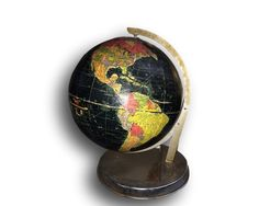 Replogle 12 Starlight Globe. Really neat black globe. This vintage globe is in nice shape for its age. The globe area has nice petina. There is
