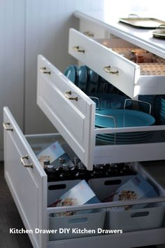 Yes- drawers vs cupboards for organization and easy to get things out of - Jillian Harris Ikea Sektion Kitchen Ikea Kitchen Drawers, Ikea Drawers, Ikea Kitchen Cabinets, Tidy Kitchen, Kitchen Tops, Kitchen Redo, New Kitchen, Kitchen Makeovers, Ikea Kitchen Handles