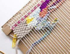 How to make a weaving loom out of cardboard! It's easy and will start you weaving today! Weaving Projects, Weaving Art, Tapestry Weaving, Loom Weaving, Weaving Tools, Rug Loom, Weaving Textiles, Hand Weaving, Yarn Crafts