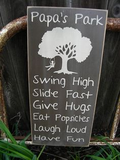 Papa's Park Rules 11x24 Sign Primitive Typography by Wildoaks, $42.00
