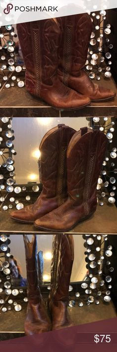 Ladies Cowboy boots by Cole Haan Country Ladies brown cowboy boots by Cole Haan.  These could  be considered Vintage- circa 1990 ish.  :-).  Beautiful weaved/braised floss down the in and outside of boot shaft. Cole Haan Shoes Heeled Boots