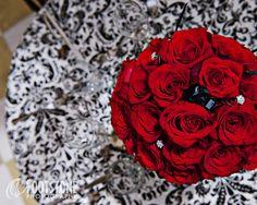 Black, White, & Red Rose Bouquet Centerpiece