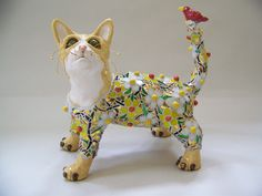 Mosaic Cat and Bird Sculpture - Purrs and Charm - Custom Pieces Available Upon Request by animalinstincts on Etsy https://www.etsy.com/listing/224419283/mosaic-cat-and-bird-sculpture-purrs-and