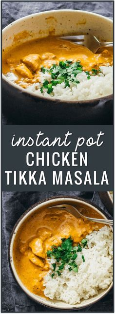 instant pot chicken tikka masala recipe, pressure cooker, chicken curry, dinner, recipe, indian food recipe, easy, asian, spicy, garam masala, fast, simple, basmati rice via @savory_tooth