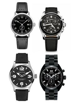 (Top, left to right): Hamilton Pioneer $1,095; Victorinox Swiss Army Chrono Classic $625. (Bottom, left to right): Nautica BFD 102 Date Watch $115; Movado Datron $1,695.