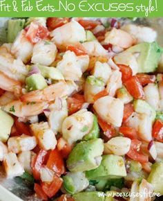 Zesty Shrimp & Avocado Salad 1 lb jumbo cooked shrimp, peeled and deveined 1 medium tomato, diced 1 avocado, diced 1 jalapeno, seeds removed, diced fine 1/4 cup red onion, chopped 1 tsp olive o...