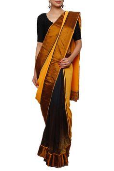 Closet Rani Pinkk | Digital Print Orange & Chocolate Saree | SCARLETBINDI.COM