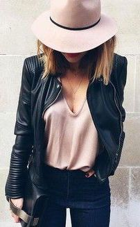 #fall #fashion / leather + pastel pink