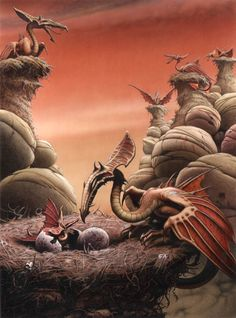 Dragon Colony  by Rodney Matthews Elric at the End of Time