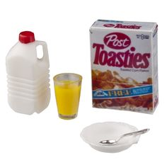 Miniature Milk Jug, Glass of Orange Juice, Cereal and Bowl with Spoon