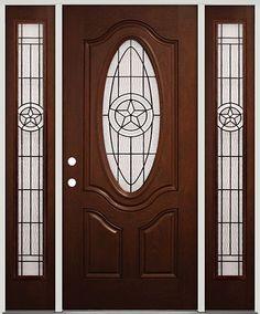 Merveilleux Pre Finished Mahogany Fiberglass Door With Sidelites Texas Star #60   Front  Entry Door