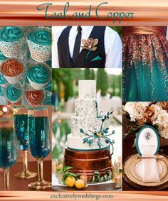 "Teal and Copper Wedding  | ""Your Wedding Color - Pair With a Metallic for Stunning Shine"" 