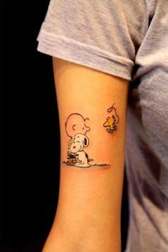 tattoo charlie brown snoopy woodstock