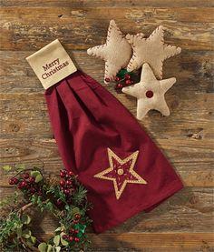 Star Merry Christmas Hanging Hand Towel