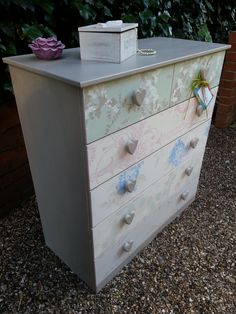Drawer chest in Annie Sloan Paris with various Laura Ashley wallpaper drawer fronts . . . if you like this you'll love https://www.facebook.com/pages/Imperfectly-Perfect/244408645753883?ref_type=bookmark