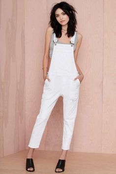 Citizens of Humanity Audrey Slim Overalls from NASTY GAL. Saved to Brand Crush: Citizens of Humanity. Jumpsuit Dressy, White Jumpsuit, Neue Outfits, Long Sleeve Romper, Mode Inspiration, Fashion Inspiration, Fashion Outfits, Womens Fashion, Overalls Fashion