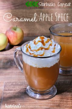Starbucks Copycat Caramel Apple Spice by @KatrinasKitchen on www.bakedbyrachel.com