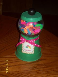 Plastic flower pot and plastic fish bowl! My kids are always taking erasers to school. Cute idea for teachers to have some on hand! Classroom Setting, Classroom Setup, Classroom Design, School Classroom, School Teacher, Pencil Dispenser, Teacher Organization, Organization Hacks, Organization Ideas
