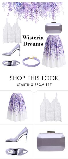 """""""Lavender Skirt: Wisteria Dreams"""" by yosifova ❤ liked on Polyvore featuring Chicwish, Just Cavalli, Carvela, Vanessa Mooney, Spring, contest, outfit, classy and official"""