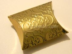 Gold embossed pillow box wedding favour box by cherrywhistle