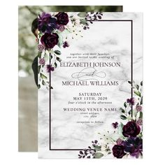 Plum Purple Flower Watercolor Marble Photo Wedding Invitation Plum Wedding Invitations, Elegant Wedding Invitations, Invites, Invitation Ideas, Flower Invitation, Wedding Labels, Wedding Envelopes, Watercolor Wedding Invitations, Wedding Cards
