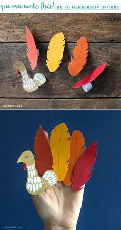 Printable Turkey Finger Puppet for Thanksgiving - Lia Griffith Holiday Crafts For Kids, Holiday Themes, Fall Crafts, Diy For Kids, Paper Flower Patterns, Paper Flowers Diy, Craft Patterns, Bird Crafts, Paper Crafts