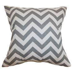 Chevron Pillow in Ash and White